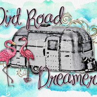 BOHO Western Clip Art Graphic Images - 300 dpi high quality Clip Art Images - Transparent Background Airstream Camper Flamingo watercolor