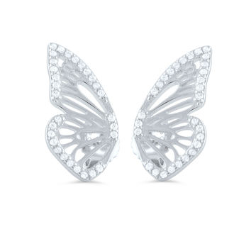 Sterling Silver Cz Half Butterfly Stud Earrings