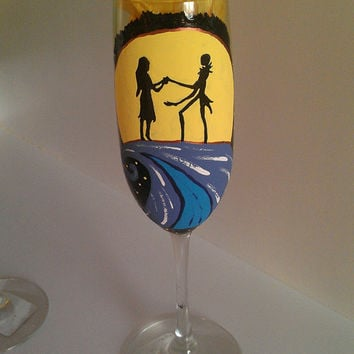tim burton nightmare before christmas wedding wine flute champagne toasting glasses bride groom