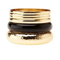 Gold Hammered & Coated Bangles - 6 Pack by Charlotte Russe