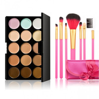 15-color Concealer + 7pcs Professional Multifunctional Cosmetic Makeup Brushes Set Pink Silk Ribbon
