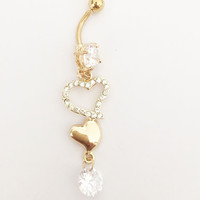 Gold Heart Surgical Steel Belly Ring Stud Dangle