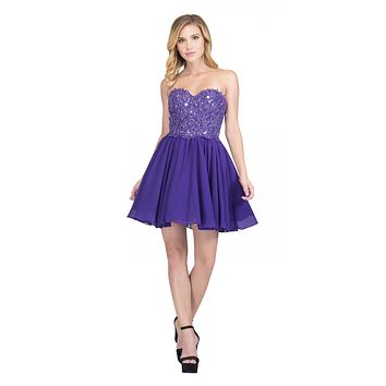 Chiffon A Line Short Homecoming Dress Purple Strapless