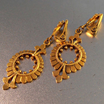 "Victorian Revival Earrings, Etruscan Dangle, Clip On, 2.5"" Long, Wedding Bridal Jewelry"