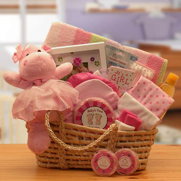 Baby Girl Carrier Gift Basket - Pink