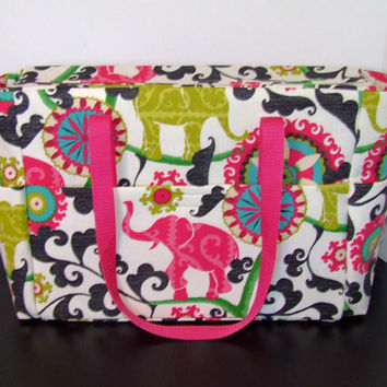 Tote/Diaper bag in a bright colorful elephant screen print fabric (Monogramming additional charge)