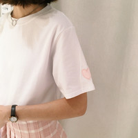 Round Neck Embroidered Heart T-Shirt Top