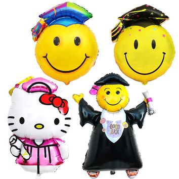 New Lage Graduation Foil Balloons Hello Kitty Smile Face Doctor Cap Ballon for School Graduation Party Events Decorations