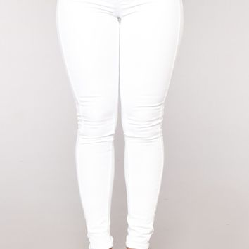 Cate High Rise Basic Jeans - White