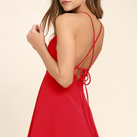 Play On Curves Red Backless Dress