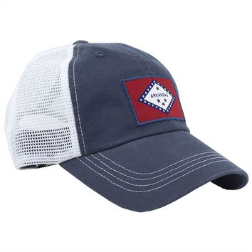 Arkansas Flag Trucker Hat in Navy by State Traditions