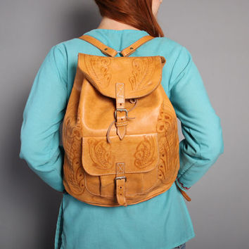80s Tooled LEATHER BACKPACK / Western Golden Tan Daypack School Bag