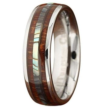 CERTIFIED 6mm Genuine Koa Wood Tungsten Ring With Abalone Center