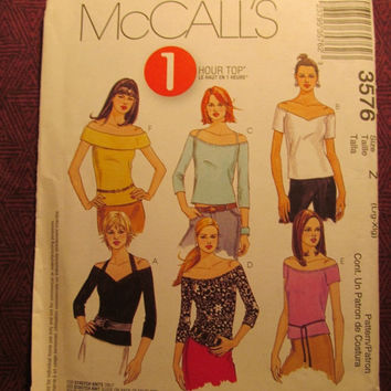 SALE Uncut McCall's Sewing Pattern, 3576! Lrg/XL/Women's/Misses/1 Hour Tops/Stretch Knits/Straps/drop Shoulders/Three Quarter Sleeves/Sleeve