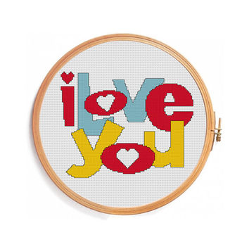 I LOVE YOU cross stitch pattern (Instant download)