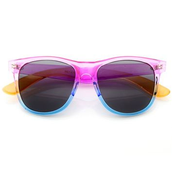 Retro 80s Color Splash Large Horned Rim Sunglasses 8541