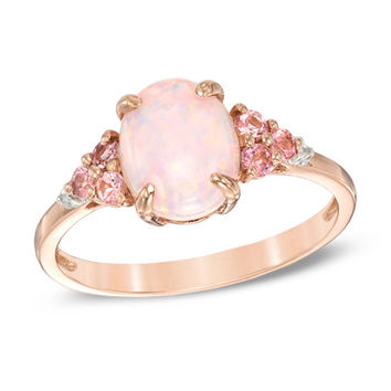 Lab-Created Pink Opal, Pink Tourmaline and Lab-Created White Sapphire Ring in Sterling Silver with 14K Rose Gold Plate