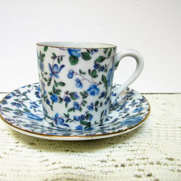 Lefton China Cup Saucer Set Porcelain Fine China Hand Painted blue Rose design number 2120