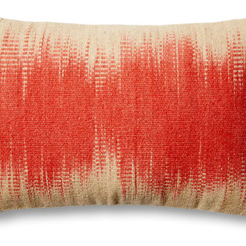 Dip-Dye 14x22 Wool-Blend Pillow, Orange, Decorative Pillows