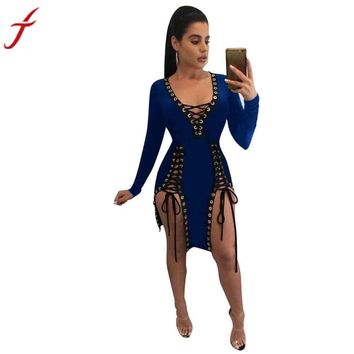 Summer Dress Womens 2017 Sexy Dress Bandage Hollow Out Club Irregular Knee length Dress #LSN