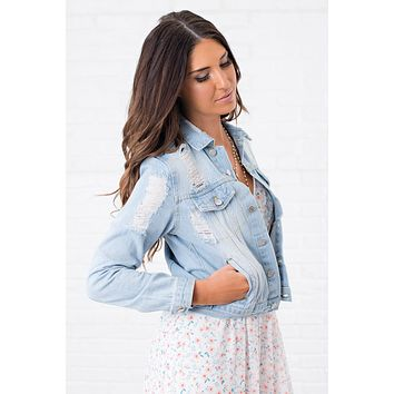 Caden Distressed Denim Jacket (Light Wash)