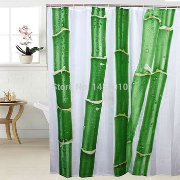 Fabric Polyester Chinese Bamboo Green Waterproof Shower Curtains Bathroom Shower Curtains Size 180x180cm 180x200cm