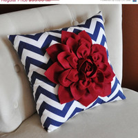 MOTHERS DAY SALE Ruby Red Dahlia on Navy Blue and White Zigzag Pillow -Chevron Pillow- Patriotic Decor- Red White and Blue