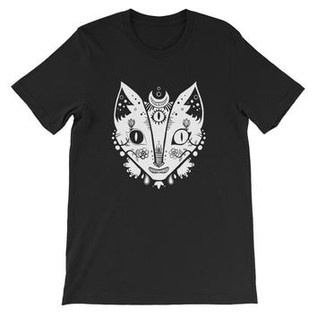 Cat With Third Eye Unisex T-Shirt On Black