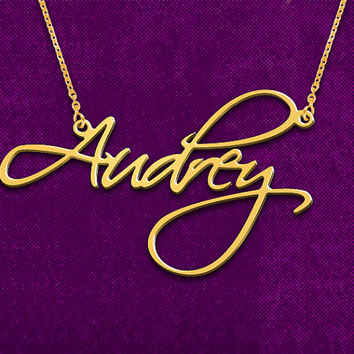 Name necklace,custom Name Necklace, Script Classic Style Name Necklace personalized Name Necklace, 18kt Gold Plated on Sterling Silver 925