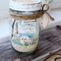 Kerr Jar Beach Terrarium , Nautical and Coastal Chic Home Decor, Beach Decoration With Seascape Mini Painting