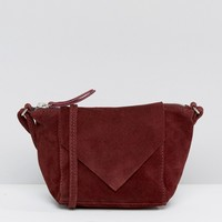 ASOS Festival Suede Cross Body bag with V Front