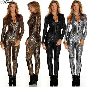 M-XXL Faux Leather Snake Print Jumpsuits Sexy Night Club Rompers Women Catsuit Front Zip Long Sleeve Bodysuits Stage Outfit