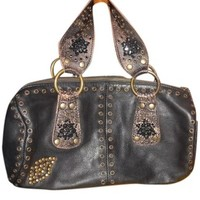 Betsey Johnson Brown Leather Grommet Beaded Barrel Dark Brown Satchel