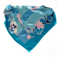 Blue Floral Neck Scarf, Birthday Gift for Coworker, Silk Head Scarves for Chemo Treatment, Gift for teacher, Pink Blue Scarf for Women