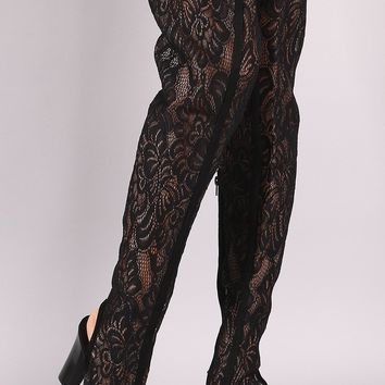 Bamboo Floral Lace Peep Toe Chunky Heeled Over-The-Knee Boots