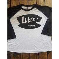 Luke's Diner on Black & White 3/4 Sleeve Raglan