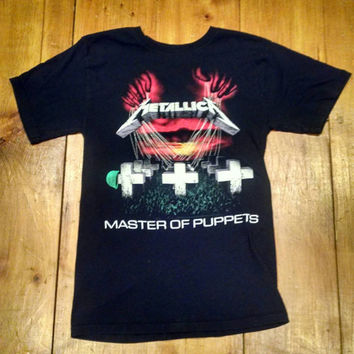 Vintage Metallica Master of Puppets T-Shirt, Mens Cotton Faded Black Sized Small Tee