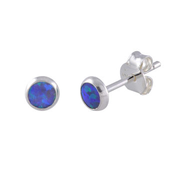 Opal Stud Earrings Navy Blue Green Gemstone Sterling Silver 5mm Round