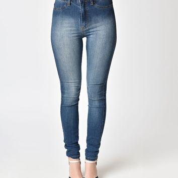 Pin-Up Style Blue Original High Waist Skinny Jeans
