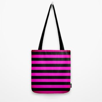 Stripes Pink & Black Tote Bag by SimplyChic