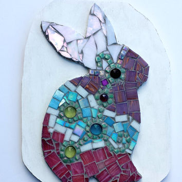 Easter Bunny Mosaic Artwork. Colorful Mixed Media Rabbit Decor. OOAK Holiday Art Decoration Wall Hanging.