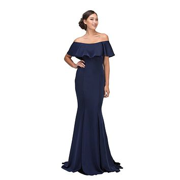 Navy Blue Off Shoulder Ruffled Bodice Mermaid Floor Length Prom Gown