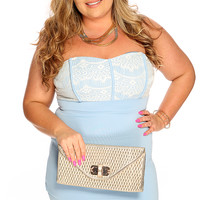 Baby Blue Eyelash Lace Sexy Plus Size Strapless Party Dress