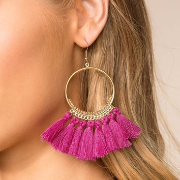 In The Loop Fuchsia Tassel Earrings