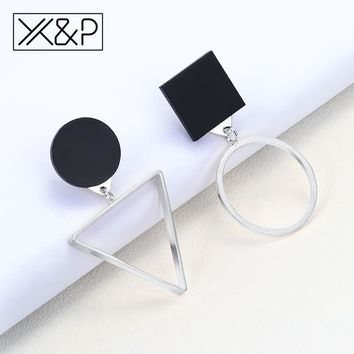 X&P Fashion Luxury Asymmetric Geometric Silver Dangle Earrings for Women Girl Simple Round Triangle Drop Earring Jewelry