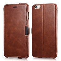 iPhone 6s Plus / 6 Plus Case, Benuo [Vintage Classic Series] Genuine Leather Folio Flip Corrected Grain Leather Case [Card Slot] [Stand Feature] with Magnetic Closure for iPhone 6 Plus / 6s Plus 5.5 inch (Retro Brown)