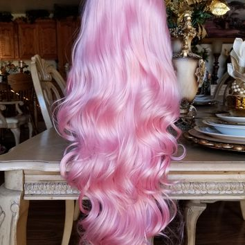Wavy Pink Beauty Lacefront Wig 24-28 inches
