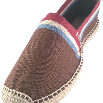 Brown Espadrilles With White Blue And Red Stripes