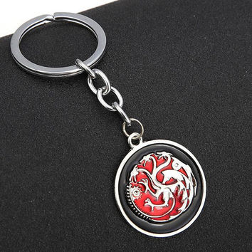 2016 New Movie Game of Thrones Key Chain keyring Targaryen Dragon Song Of Ice And Fire Pendant gift men women Pop TV Keychains