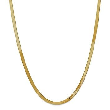 14K Yellow Gold 4.00mm Silky Herringbone Chain Necklace - Fine Jewelry Gift